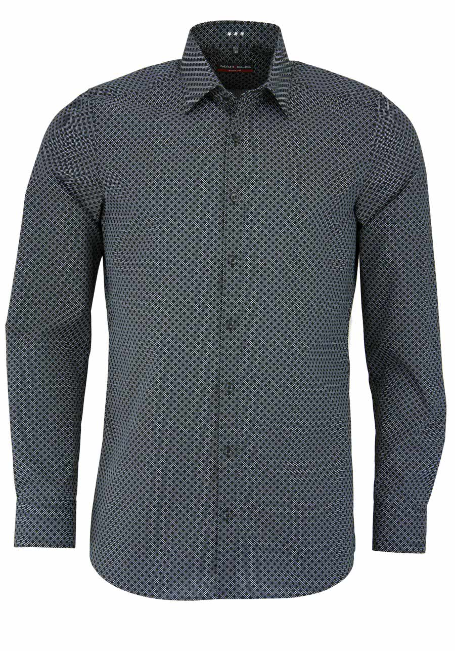 marvelis body fit hemd langarm mit new kent kragen muster. Black Bedroom Furniture Sets. Home Design Ideas
