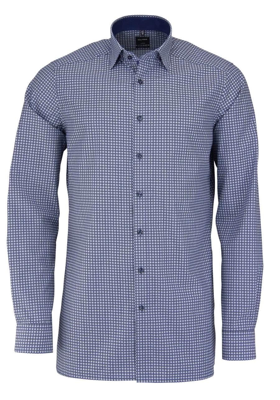 olymp modern fit hemd extra langer arm muster dunkelblau al 69. Black Bedroom Furniture Sets. Home Design Ideas