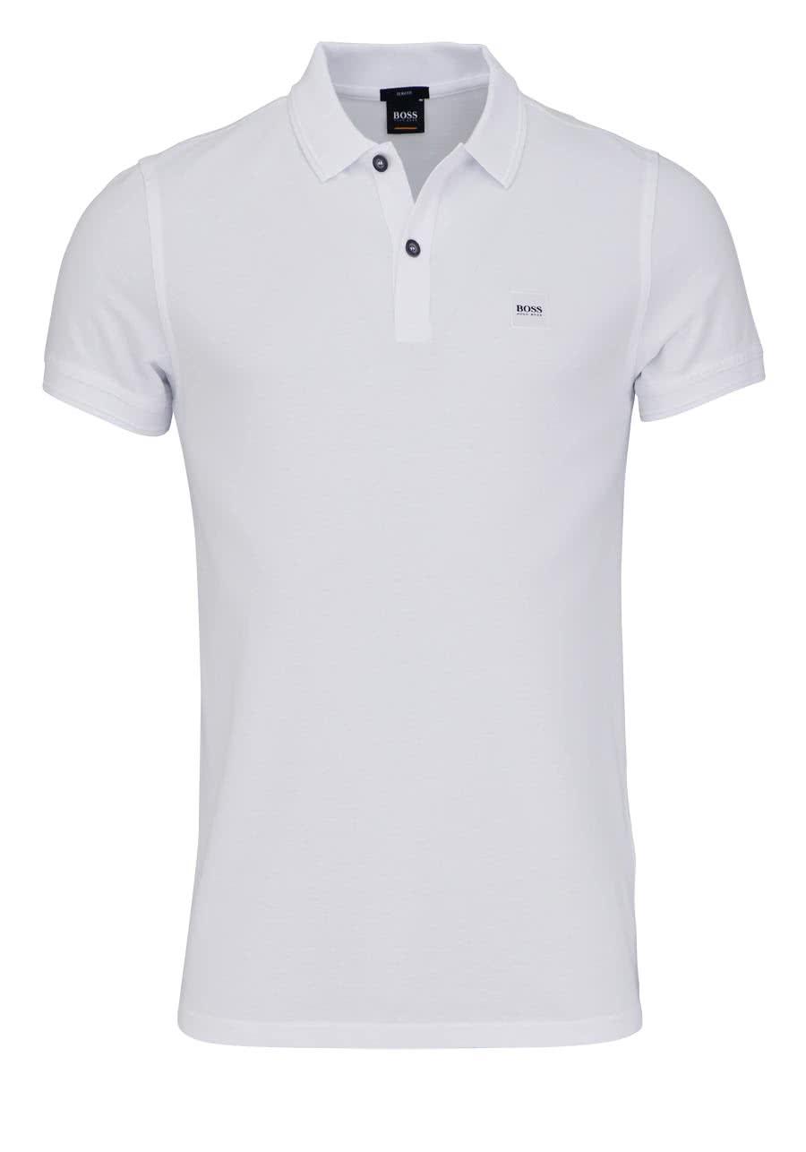 87f876a072b3e7 BOSS Kurzarm Poloshirt PRIME Polokragen Slim Fit weiß