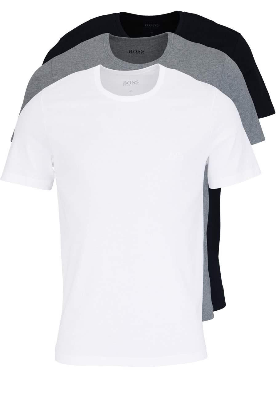 efdec259d566a7 BOSS Regular Fit Kurzarm T-Shirt 3er Pack weiß grau schwarz