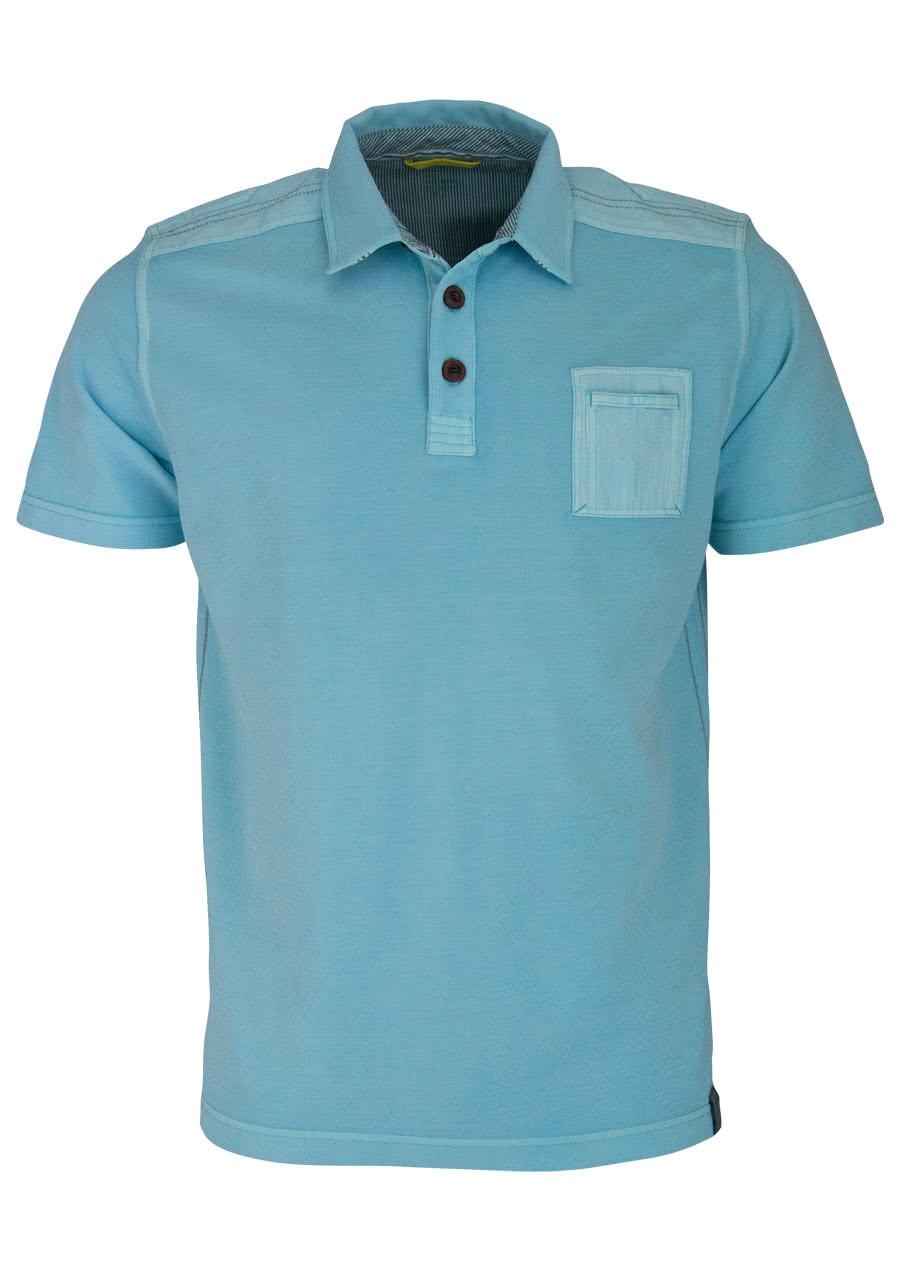 ACTIVE Poloshirt Halbarm geknöpfter Kragen Pique türkis