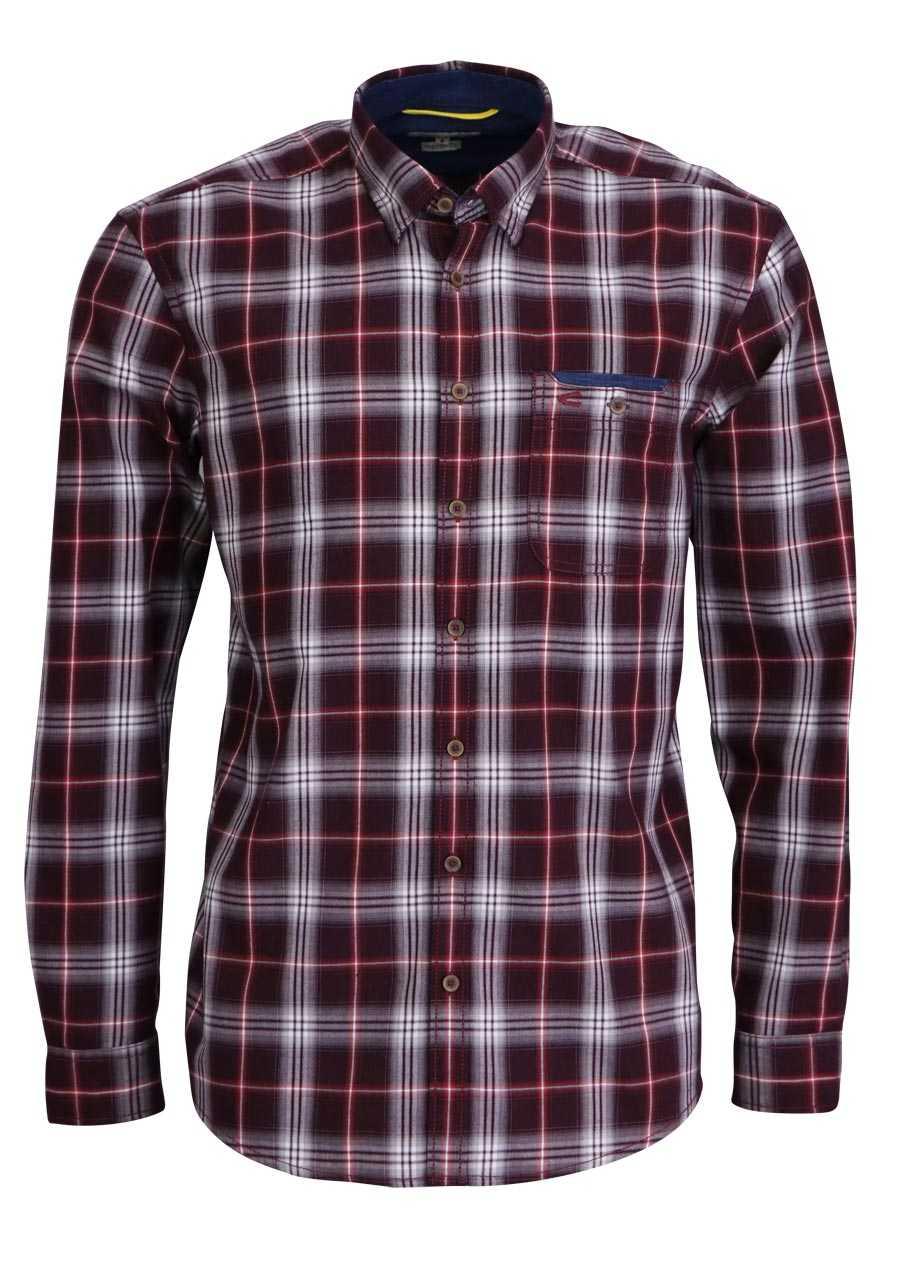 CAMEL ACTIVE Regular Fit Hemd Langarm mit Besatz Karo rot