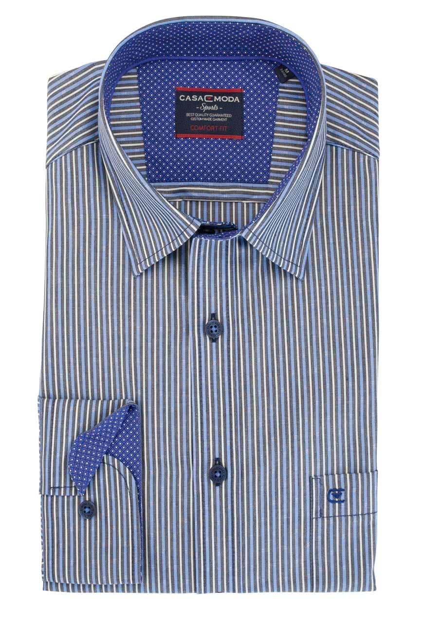 CASAMODA Comfort Fit Hemd Langarm New Kent Kragen Besatz Streifen blau