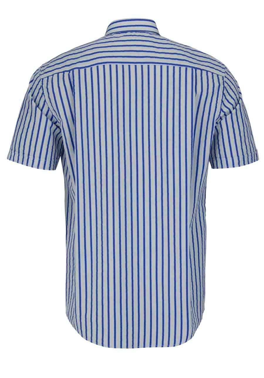 CASAMODA Comfort Fit Hemd Halbarm mit Besatz Streifen blau