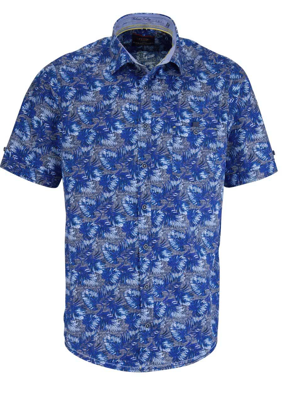 casamoda casual fit hemd halbarm mit besatz muster blau. Black Bedroom Furniture Sets. Home Design Ideas