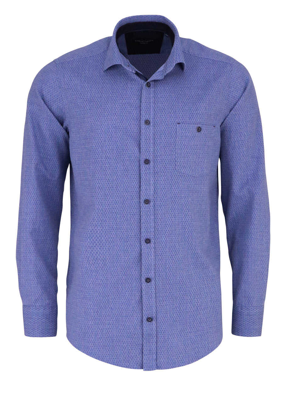 CASAMODA Casual Fit Hemd Langarm New Kent Kragen Muster blau 9abb715d2b