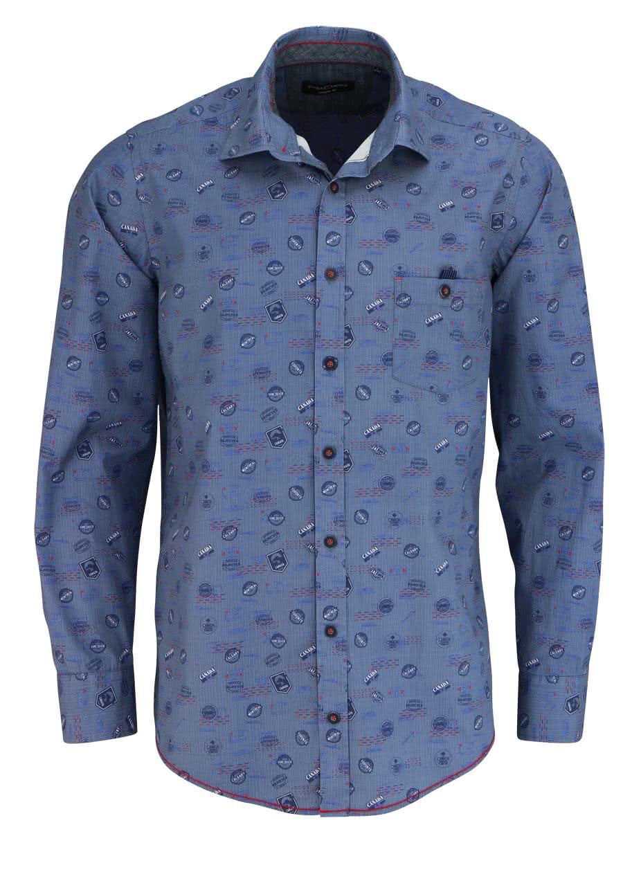 finest selection 161f9 88c3e CASAMODA Comfort Fit Hemd Langarm New Kent Kragen Muster blau