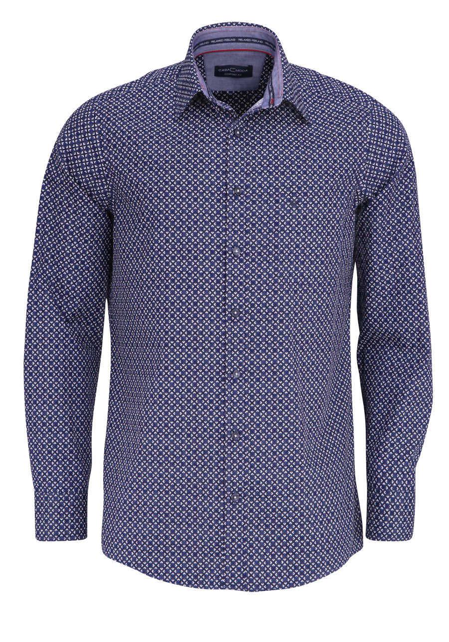 CASAMODA Comfort Fit Hemd Langarm New Kent Kragen Muster dunkelblau 805ad094fe