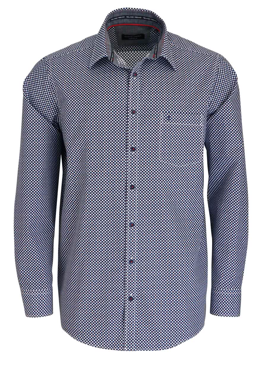 new style dbe88 010f2 CASAMODA Comfort Fit Hemd super langer Arm Muster blau