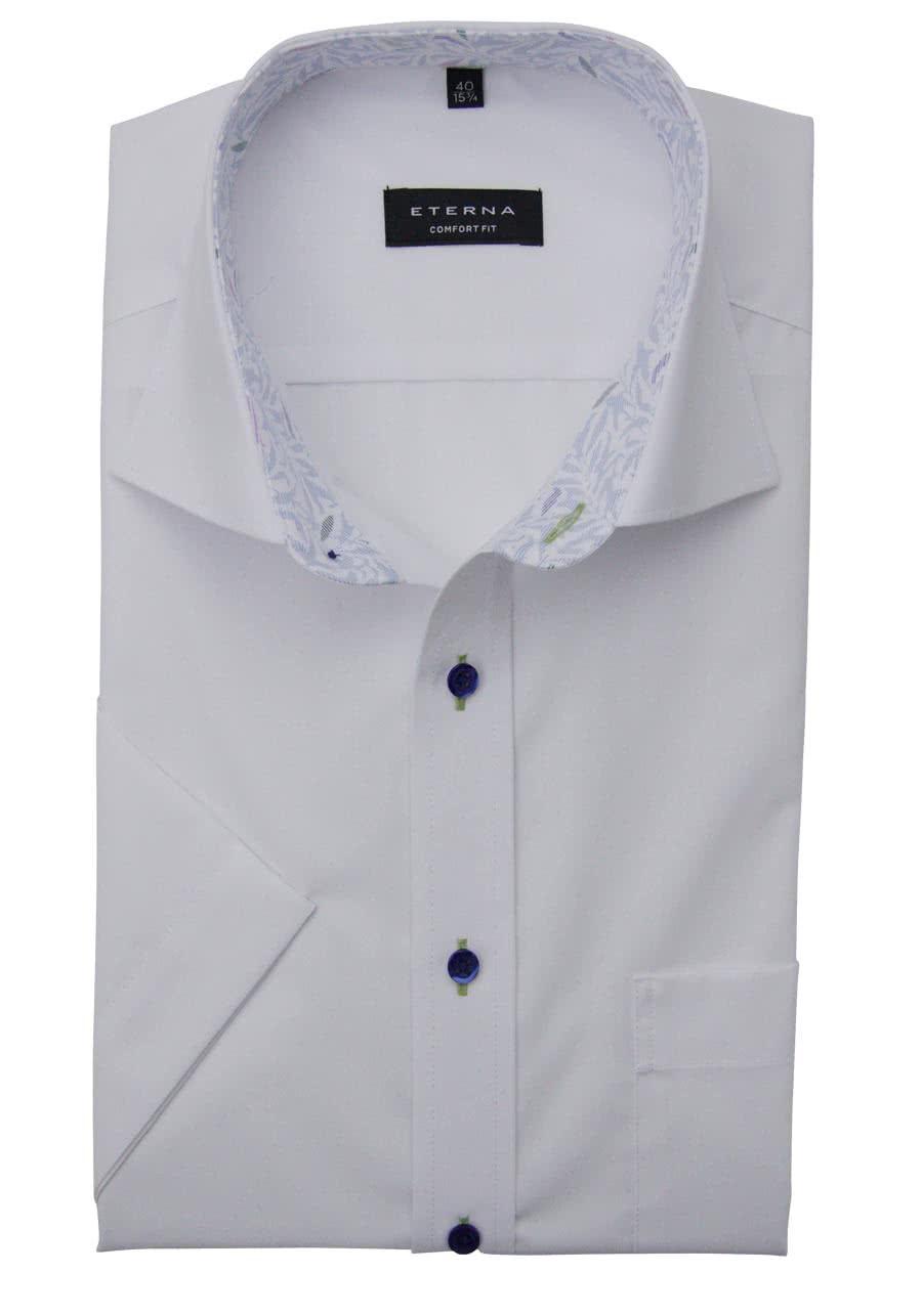 ETERNA Comfort Fit Hemd Halbarm New Kent mit Patch Kragen weiß f61092b3df
