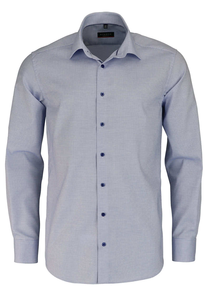 ETERNA Modern Fit Hemd super langer Arm Muster blau