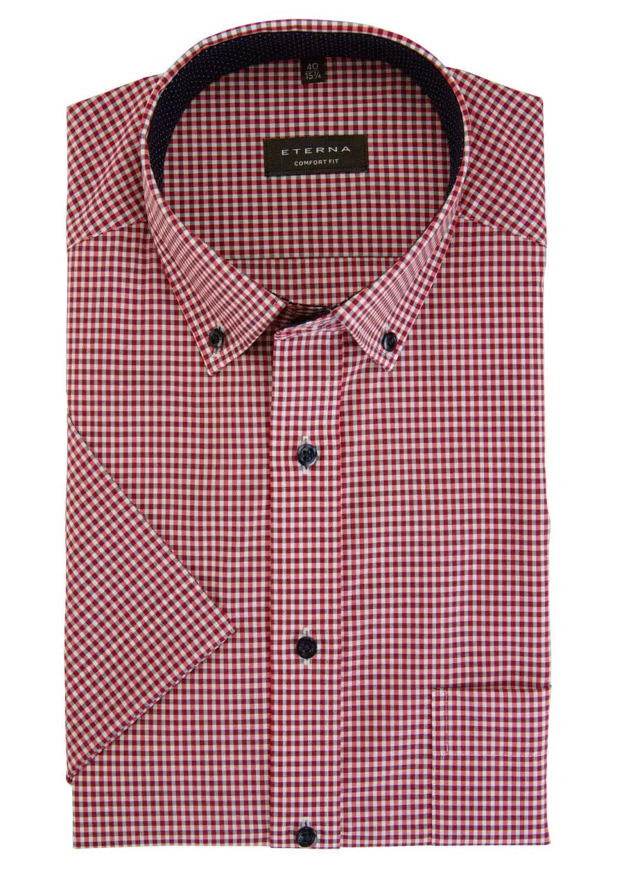 ETERNA Comfort Fit Hemd Halbarm mit Besatz Karo blau/rot