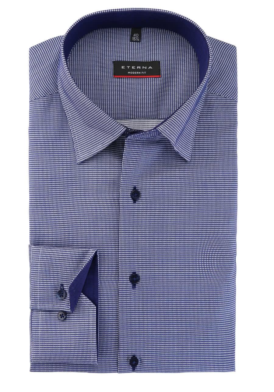 ETERNA Modern Fit Hemd Langarm Under Button Down Kragen Muster blau
