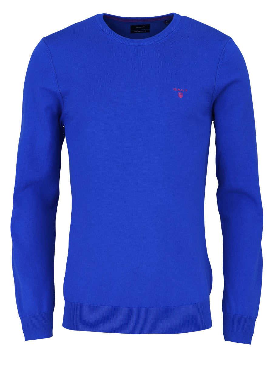 huge discount 83d68 10f13 GANT Pullover Langarm Rundhals mit Logostick wasserblau