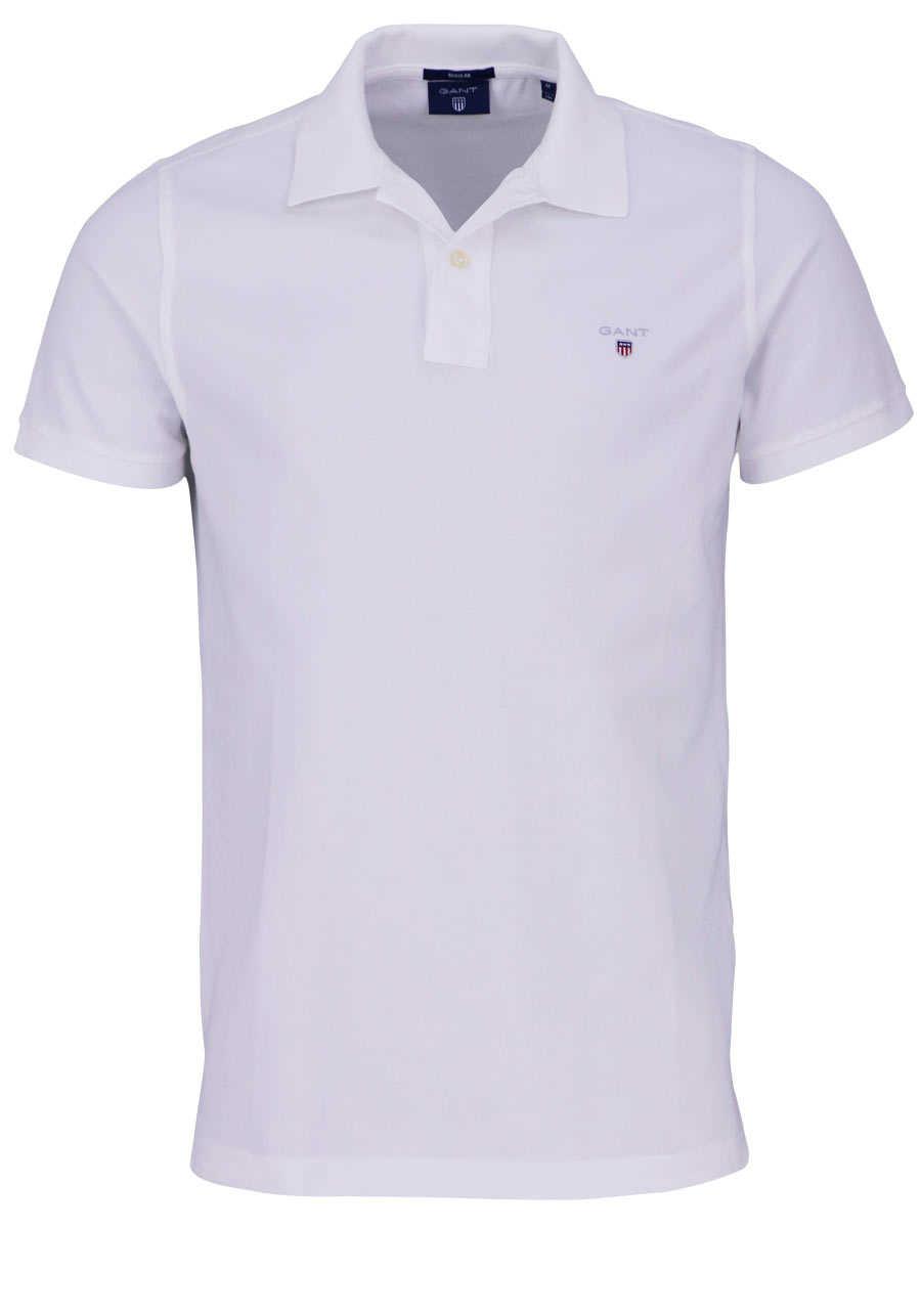 3955908f80a5d6 GANT Regular Poloshirt Halbarm geknöpfter Kragen Pique weiß