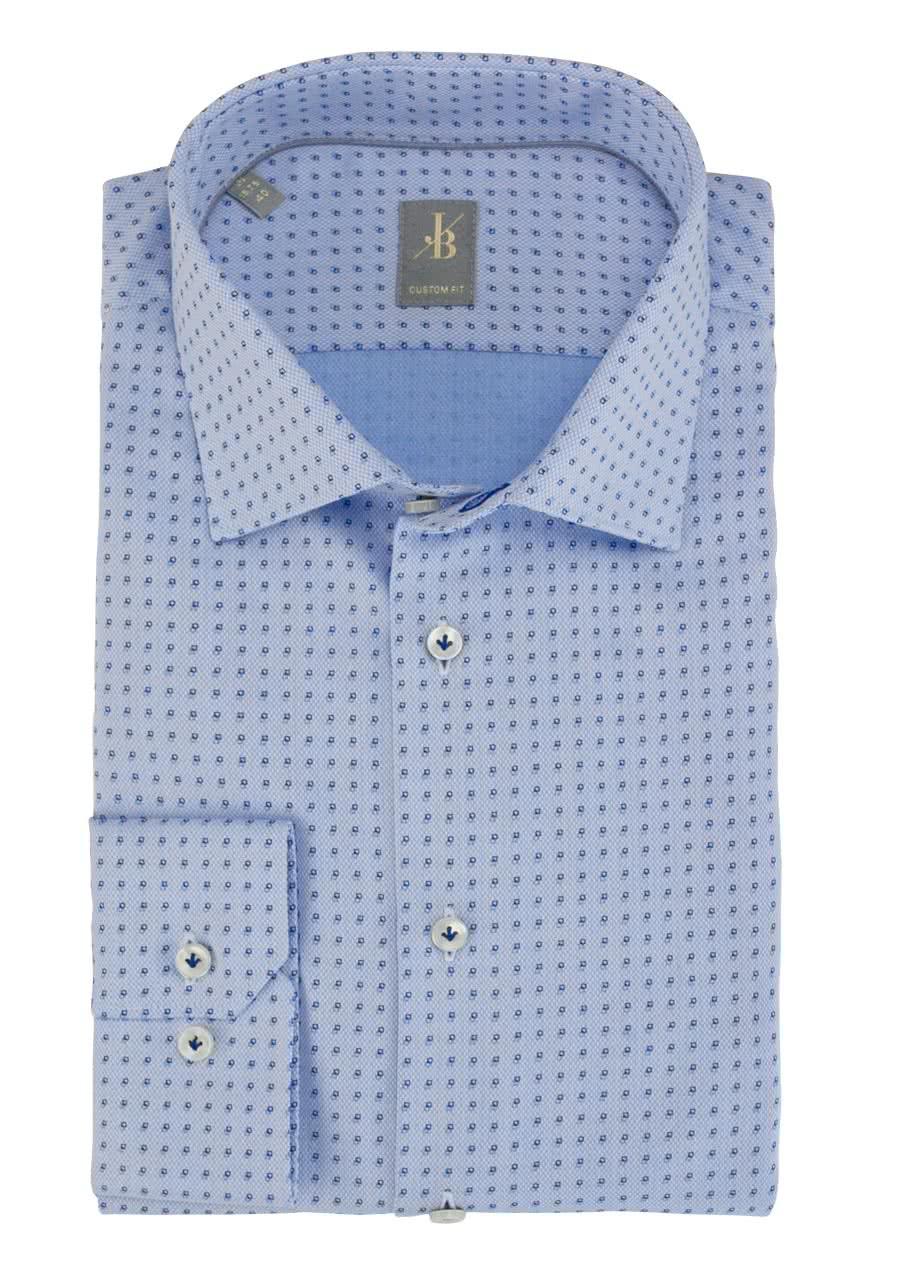 Jacques Britt Hemd Custom Fit weißbraunblau   dress for