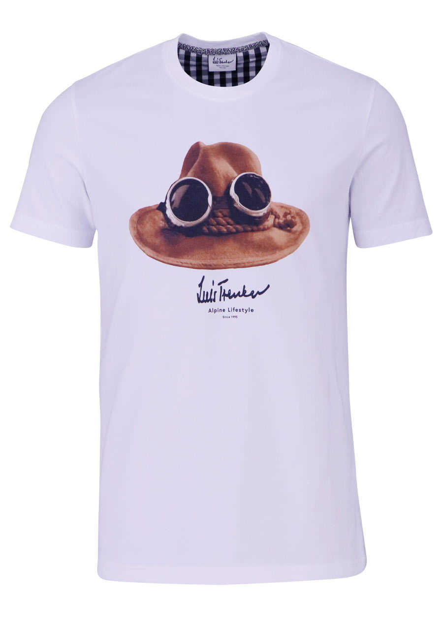 Online-Einzelhändler neuartiger Stil Sonderangebot LUIS TRENKER T-Shirt Halbarm DER HUT Rundhals mit Druck weiß