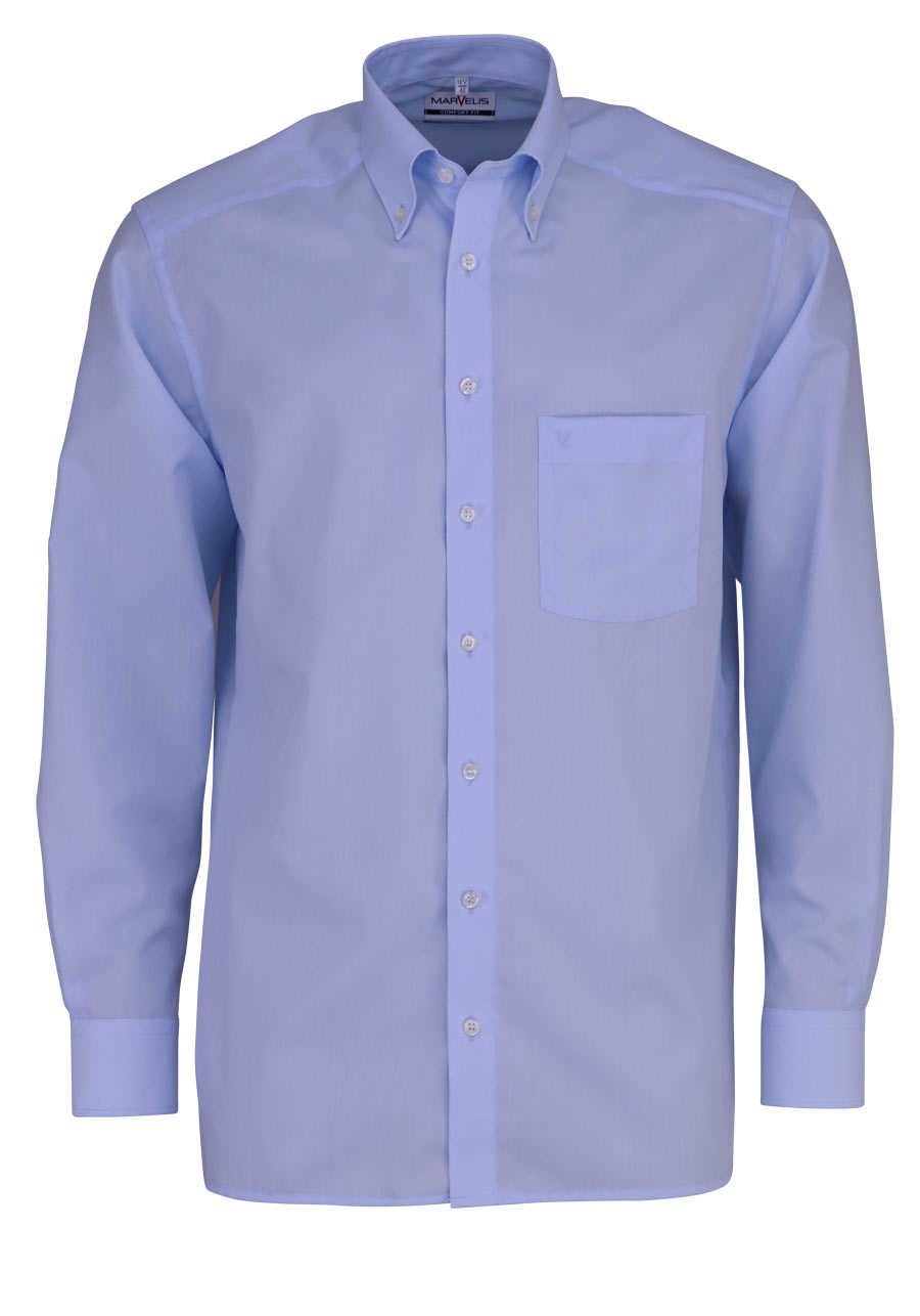 MARVELIS Comfort Fit Hemd Button Down Langarm Popeline hellblau