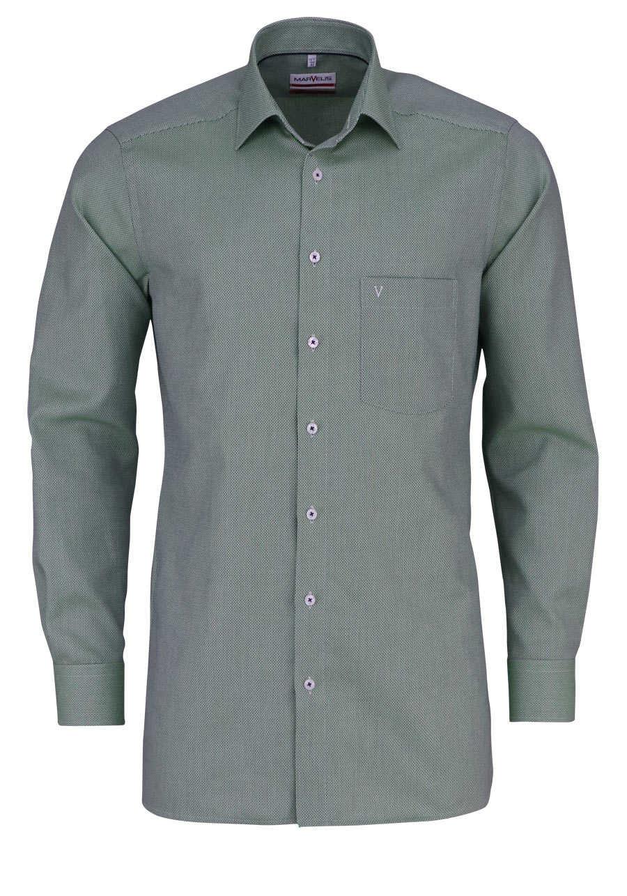 marvelis modern fit hemd extra langer arm muster gr n. Black Bedroom Furniture Sets. Home Design Ideas