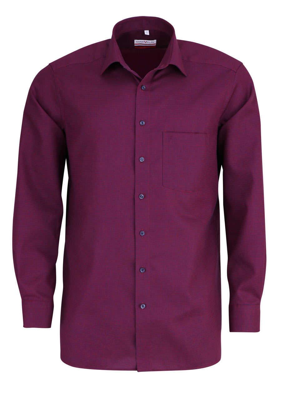 marvelis modern fit hemd extra langer arm muster rot. Black Bedroom Furniture Sets. Home Design Ideas