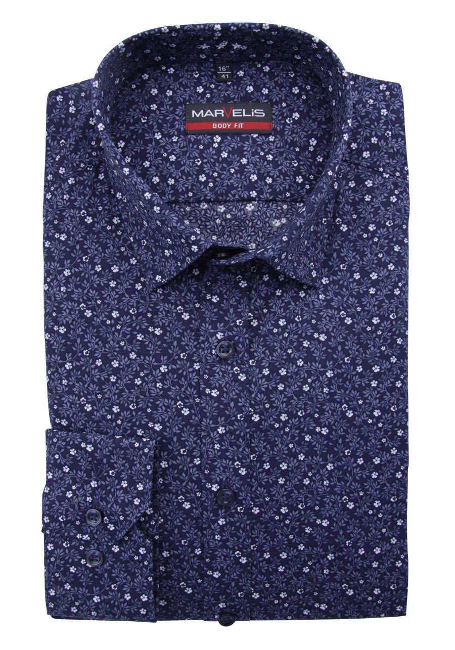 online retailer 468e2 f371a MARVELIS Body Fit Hemd Langarm New Kent Kragen Blumenmuster blau