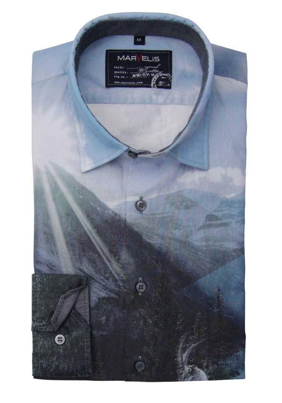 e48967079c MARVELIS Casual Fit Hemd Langarm New Kent Kragen Druck blau