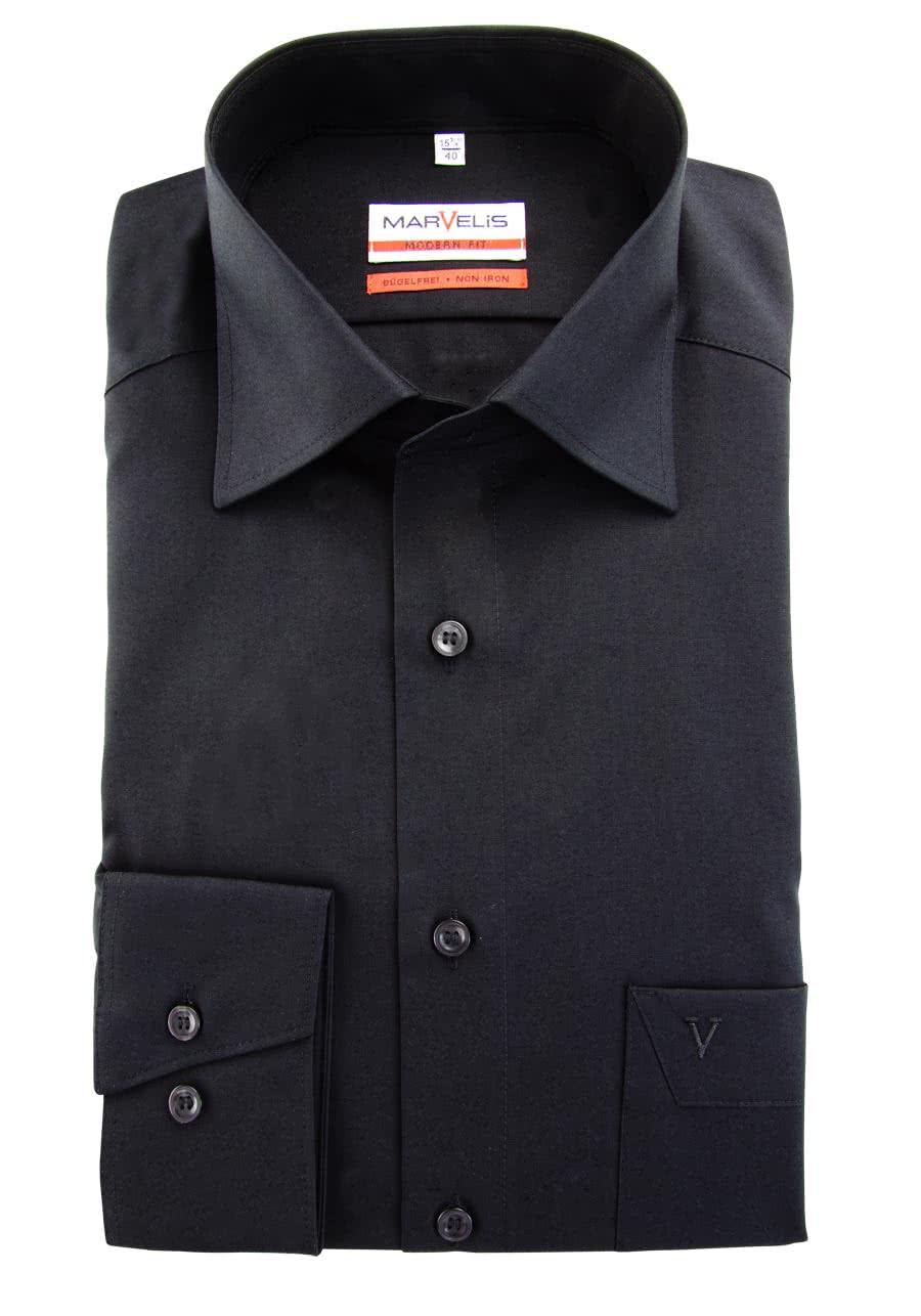 timeless design f308e 5b098 MARVELIS Modern Fit Hemd extra langer Arm Popeline schwarz