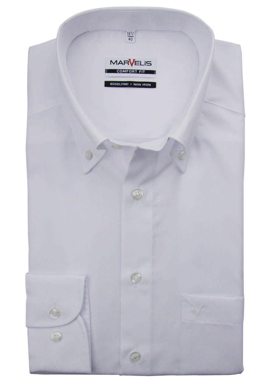 60eeac0429e2c2 MARVELIS Comfort Fit Hemd Button Down Langarm Popeline weiß