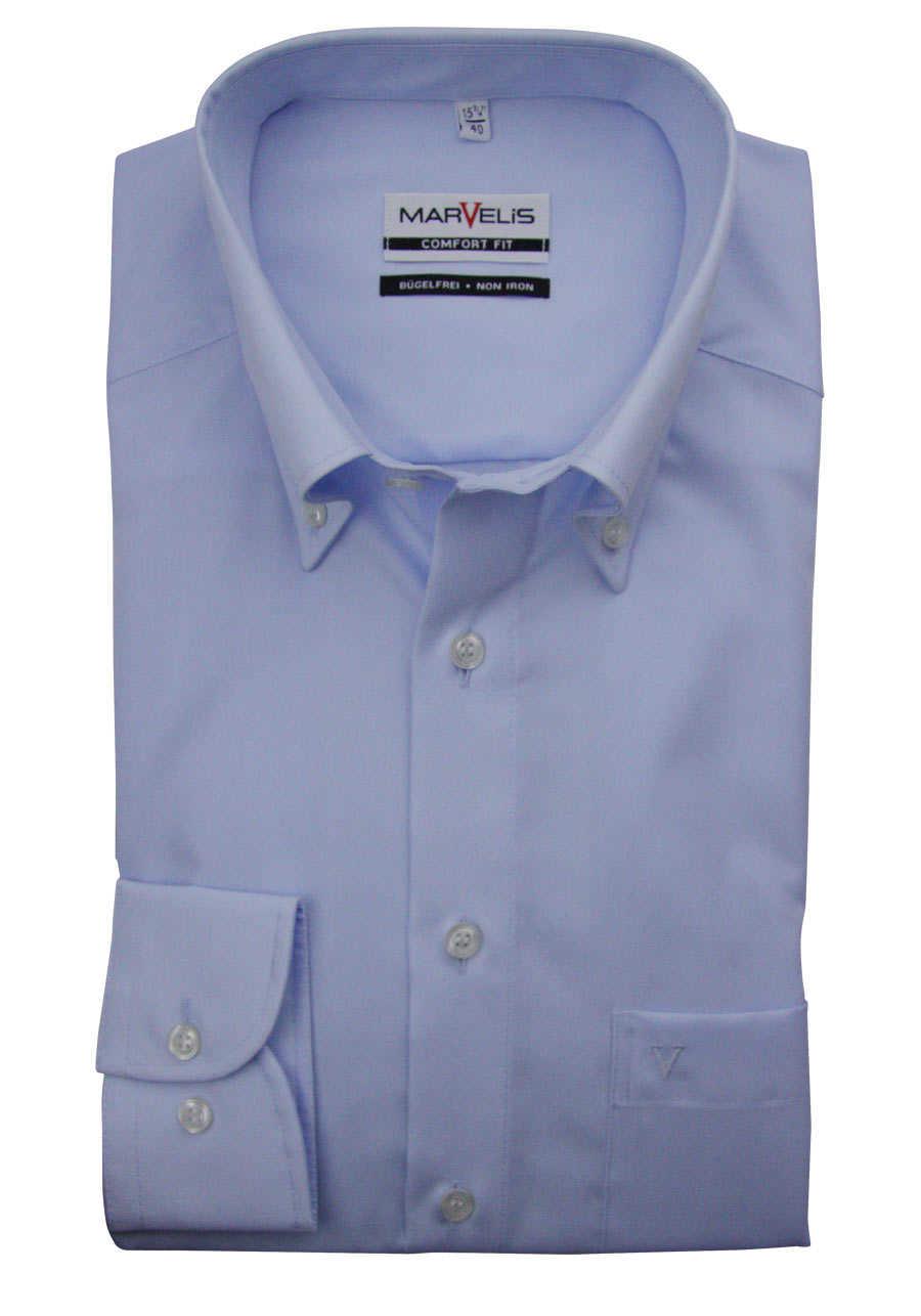 30f2de6cf92532 MARVELIS Comfort Fit Hemd Button Down Langarm Popeline hellblau