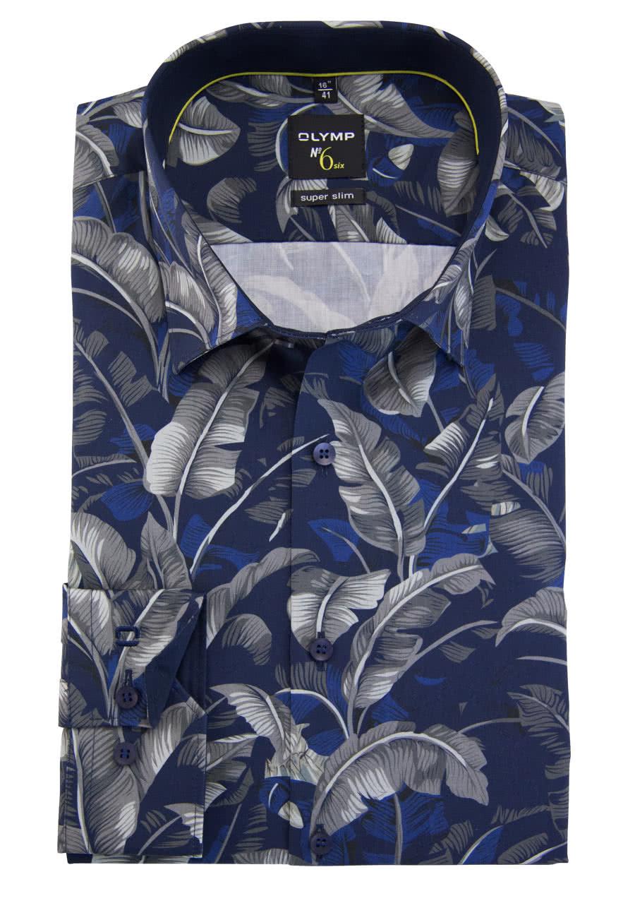 OLYMP No. Six super slim Hemd extra langer Arm Muster dunkelblau 25021925