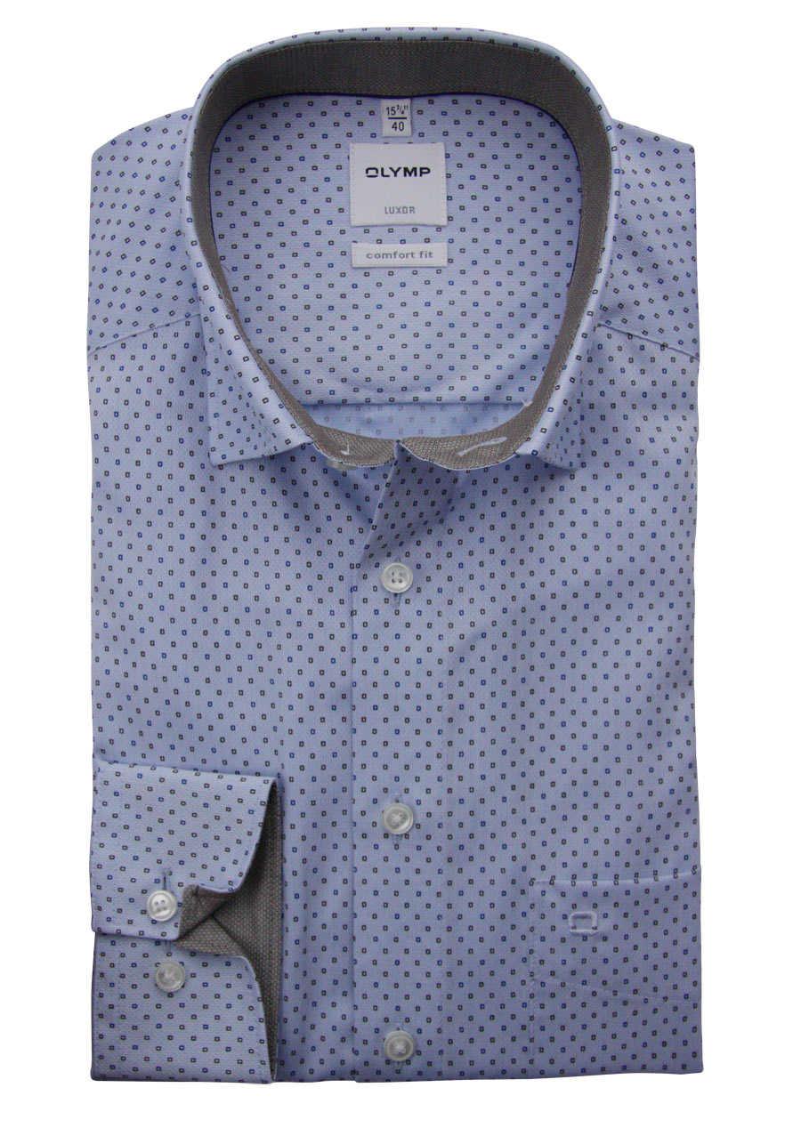 490e05fb6385 OLYMP Luxor comfort fit Hemd Langarm mit Besatz Muster hellblau