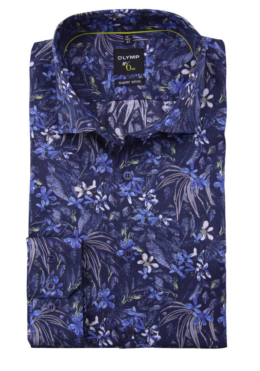 OLYMP No. Six super slim Hemd extra langer Arm Muster dunkelblau