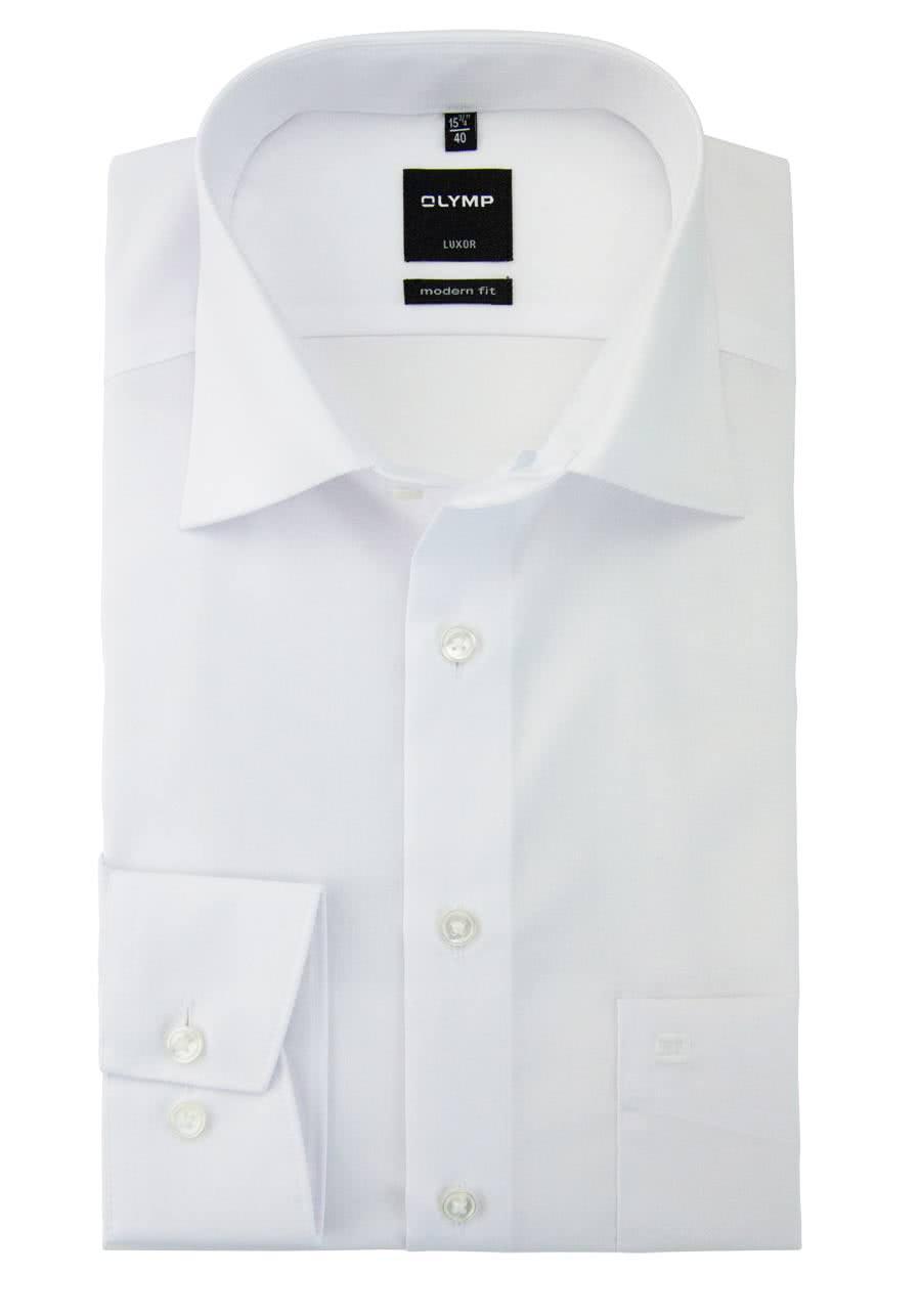OLYMP Luxor modern fit Hemd extra langer Arm Popeline weiß