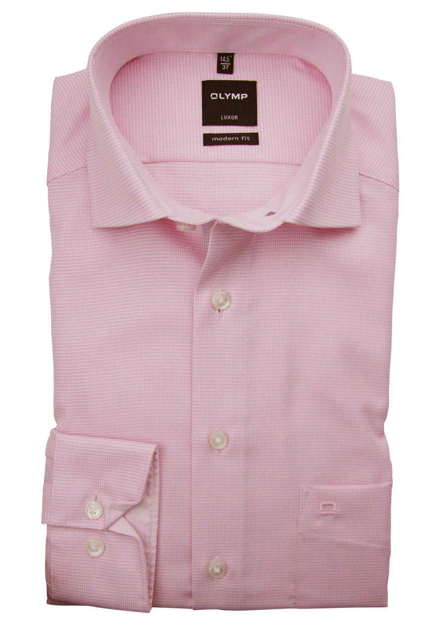 OLYMP Luxor modern fit Hemd Langarm New Kent Kragen Patch Muster rosa