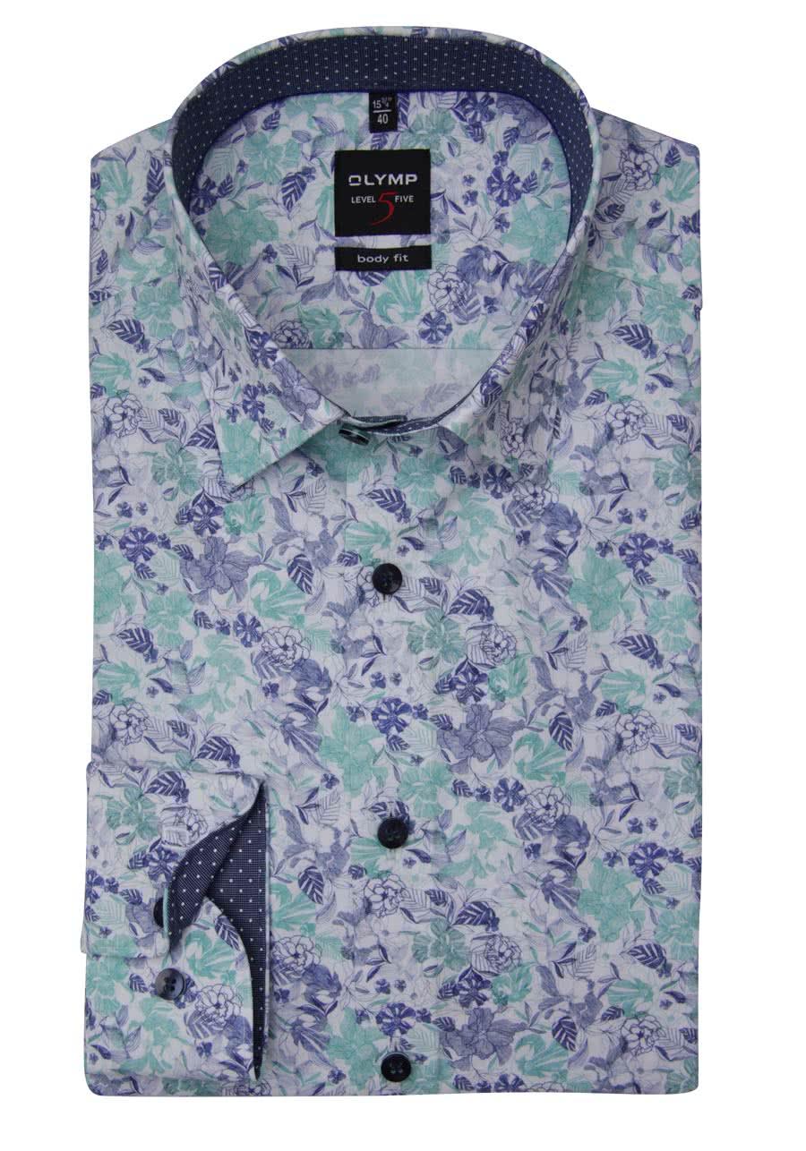 OLYMP Level Five body fit Hemd Langarm New Kent Kragen Muster blau