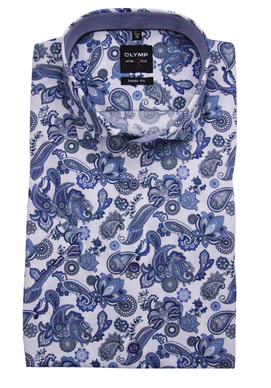 many fashionable detailing sells OLYMP Level Five body fit Hemd Halbarm New Kent Kragen Muster blau
