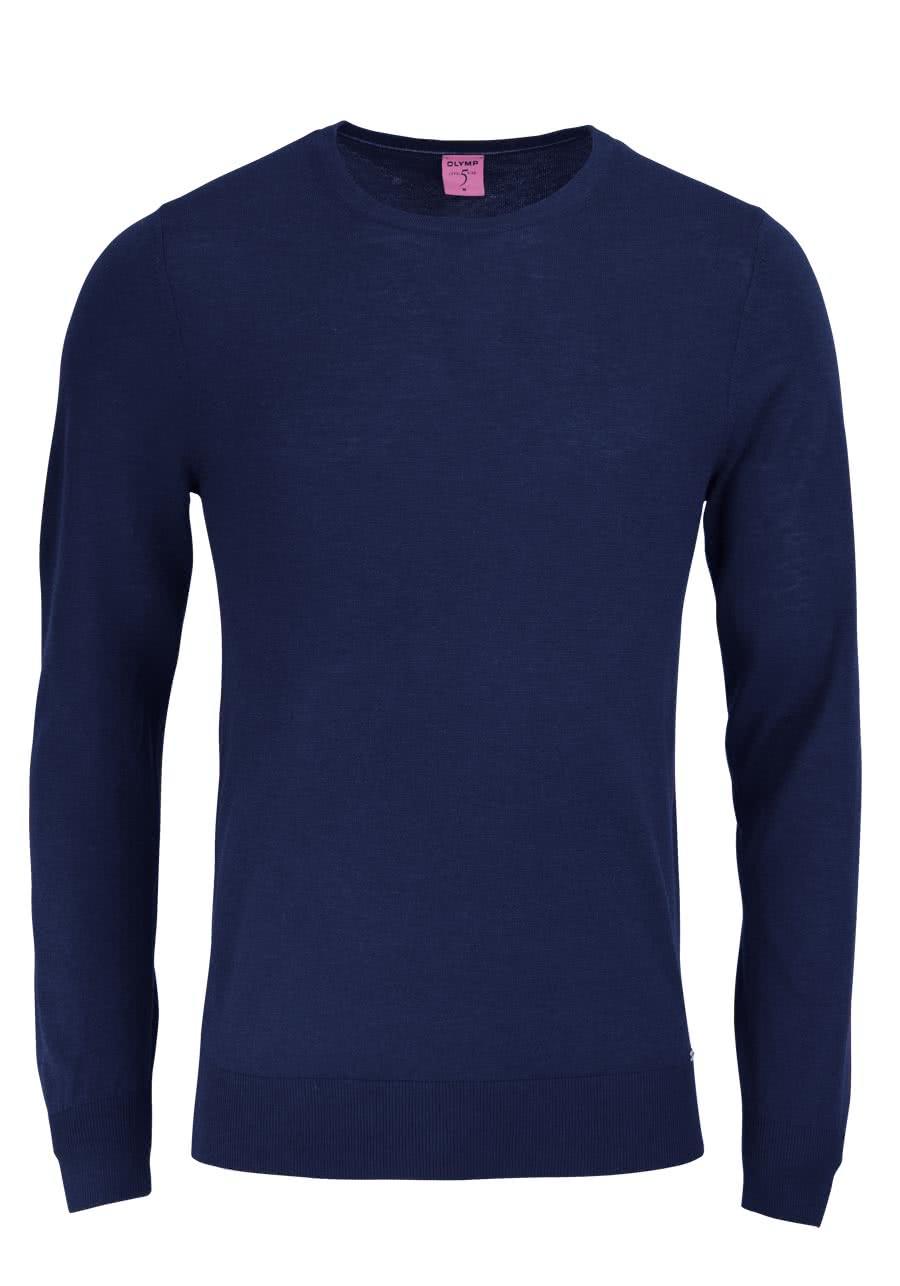 olymp level five strick body fit pullover rundhals dunkelblau. Black Bedroom Furniture Sets. Home Design Ideas