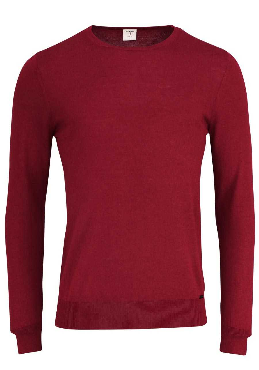 OLYMP Level Five Strick body fit Pullover Rundhals dunkelrot 117fce2d87