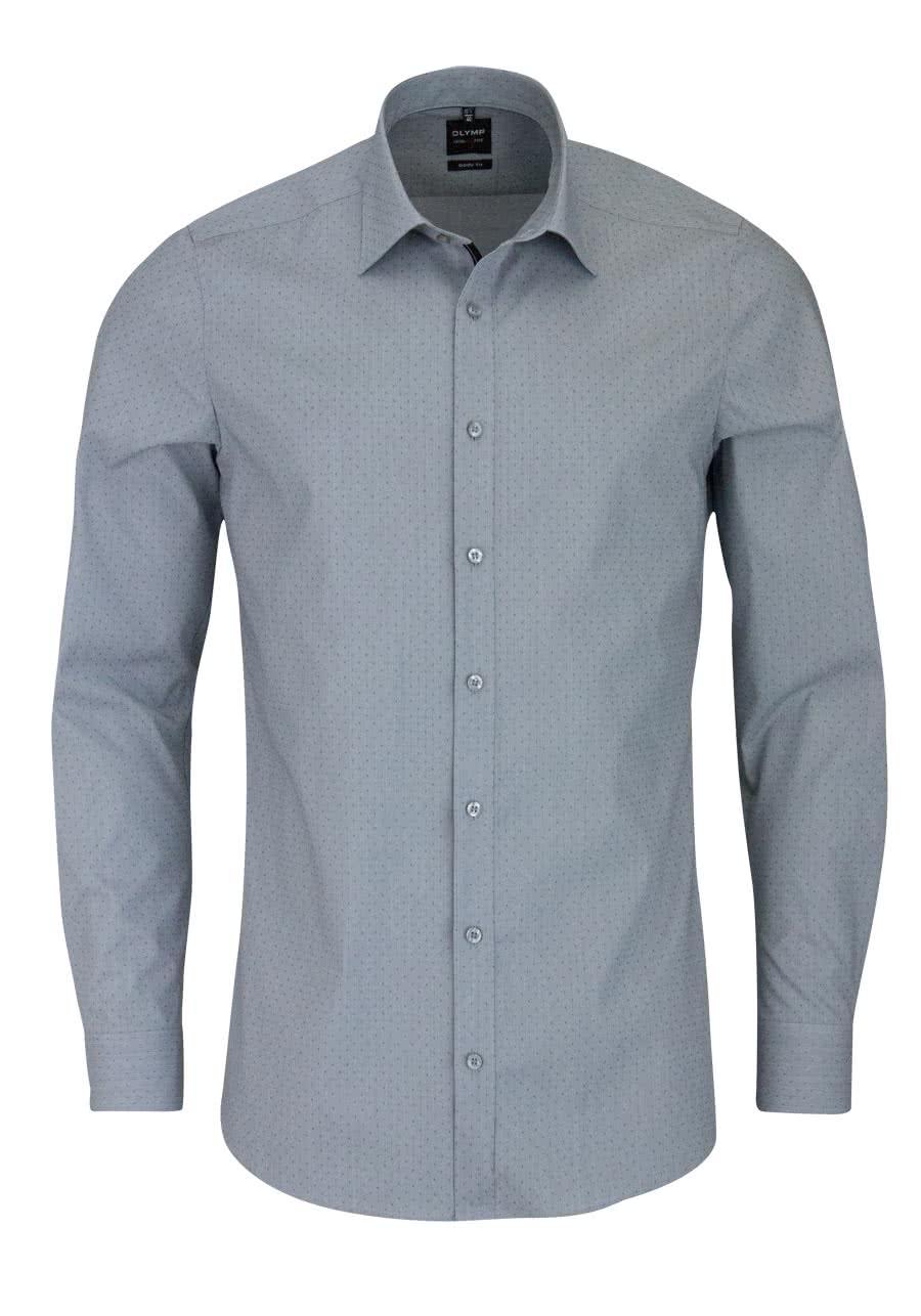 olymp level five body fit hemd langarm new kent kragen struktur grau. Black Bedroom Furniture Sets. Home Design Ideas