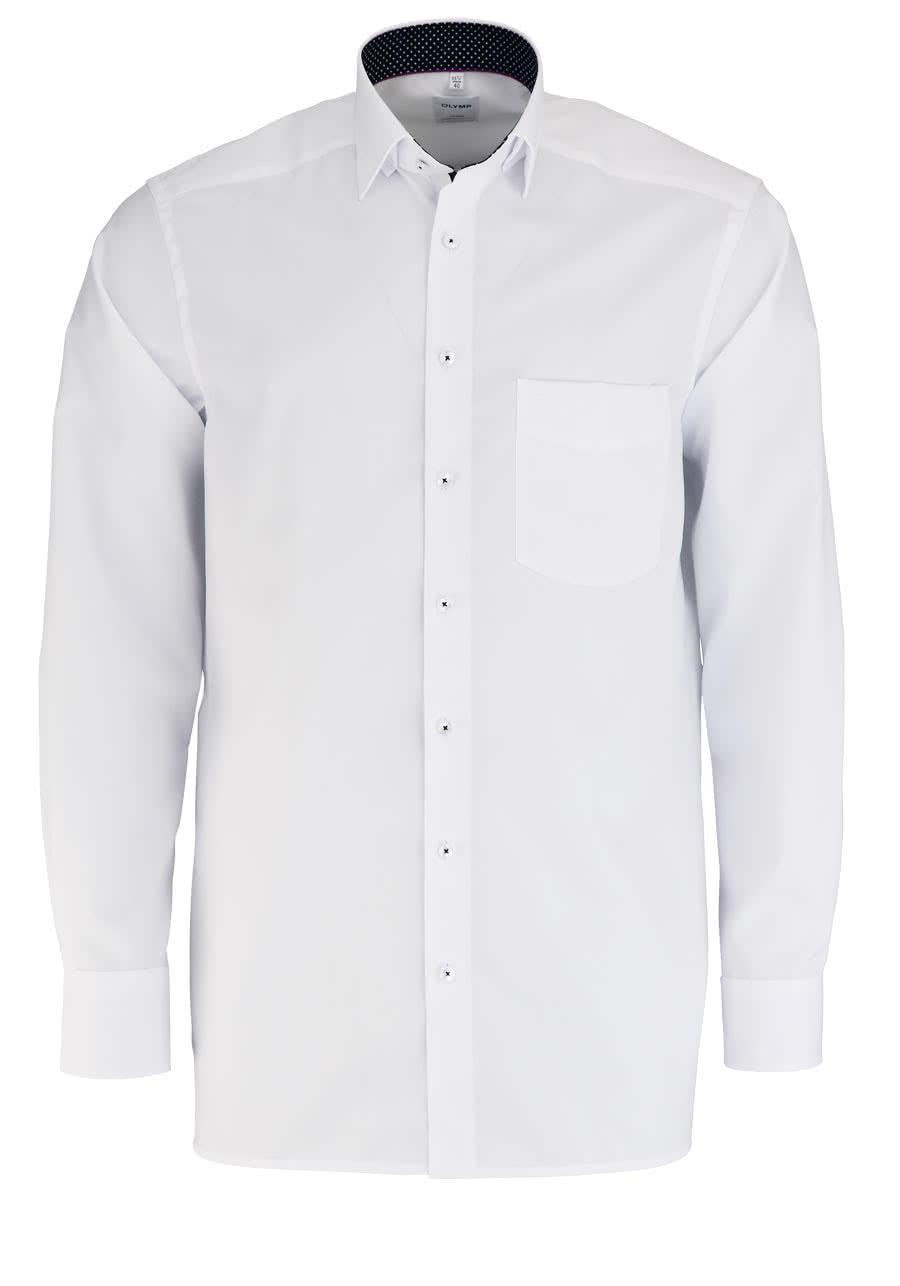 OLYMP Luxor comfort fit Hemd Langarm Kragen mit schwarzem Besatz weiß