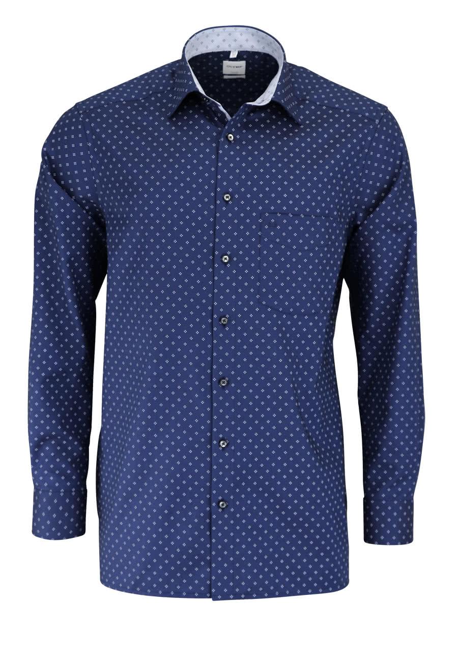 OLYMP Luxor comfort fit Hemd Langarm Muster dunkelblau