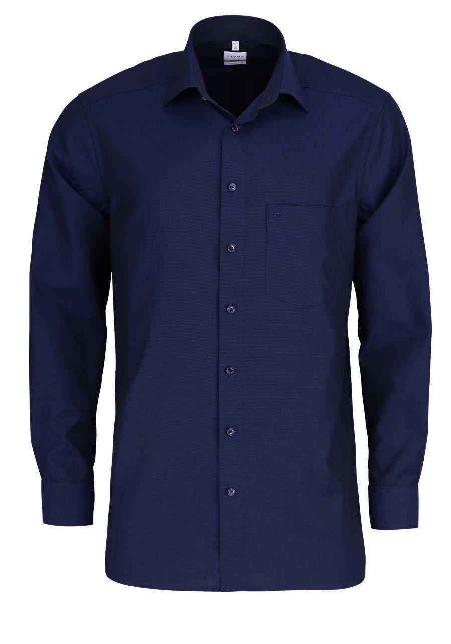 efcbdf4f21de OLYMP Luxor comfort fit Hemd Langarm New Kent Kragen Muster dunkelblau