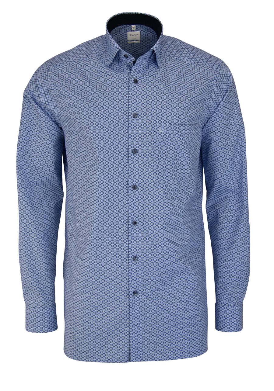 OLYMP Luxor comfort fit Hemd Langarm Under Button Down Muster blau