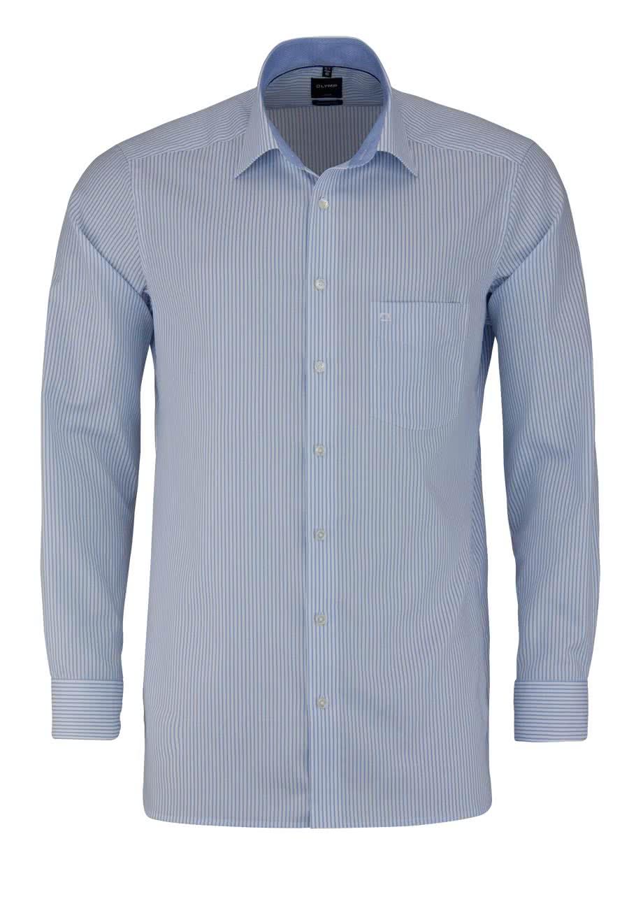 olymp luxor modern fit hemd langarm new kent kragen streifen hellblau. Black Bedroom Furniture Sets. Home Design Ideas