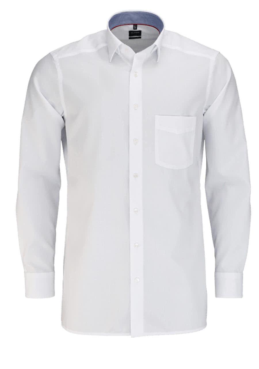 olymp luxor modern fit hemd langarm mit besatz muster wei. Black Bedroom Furniture Sets. Home Design Ideas