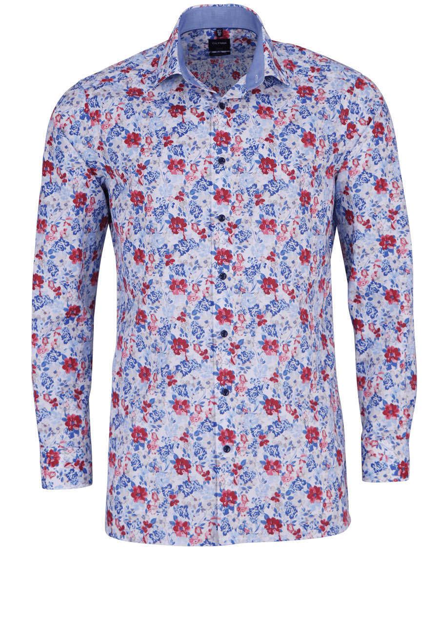 olymp luxor modern fit hemd extra langer arm muster blau. Black Bedroom Furniture Sets. Home Design Ideas