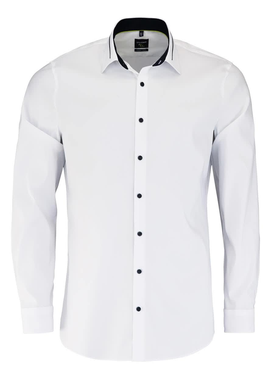 OLYMP No. Six super slim Hemd Langarm New Kent Kragen mit Besatz weiß