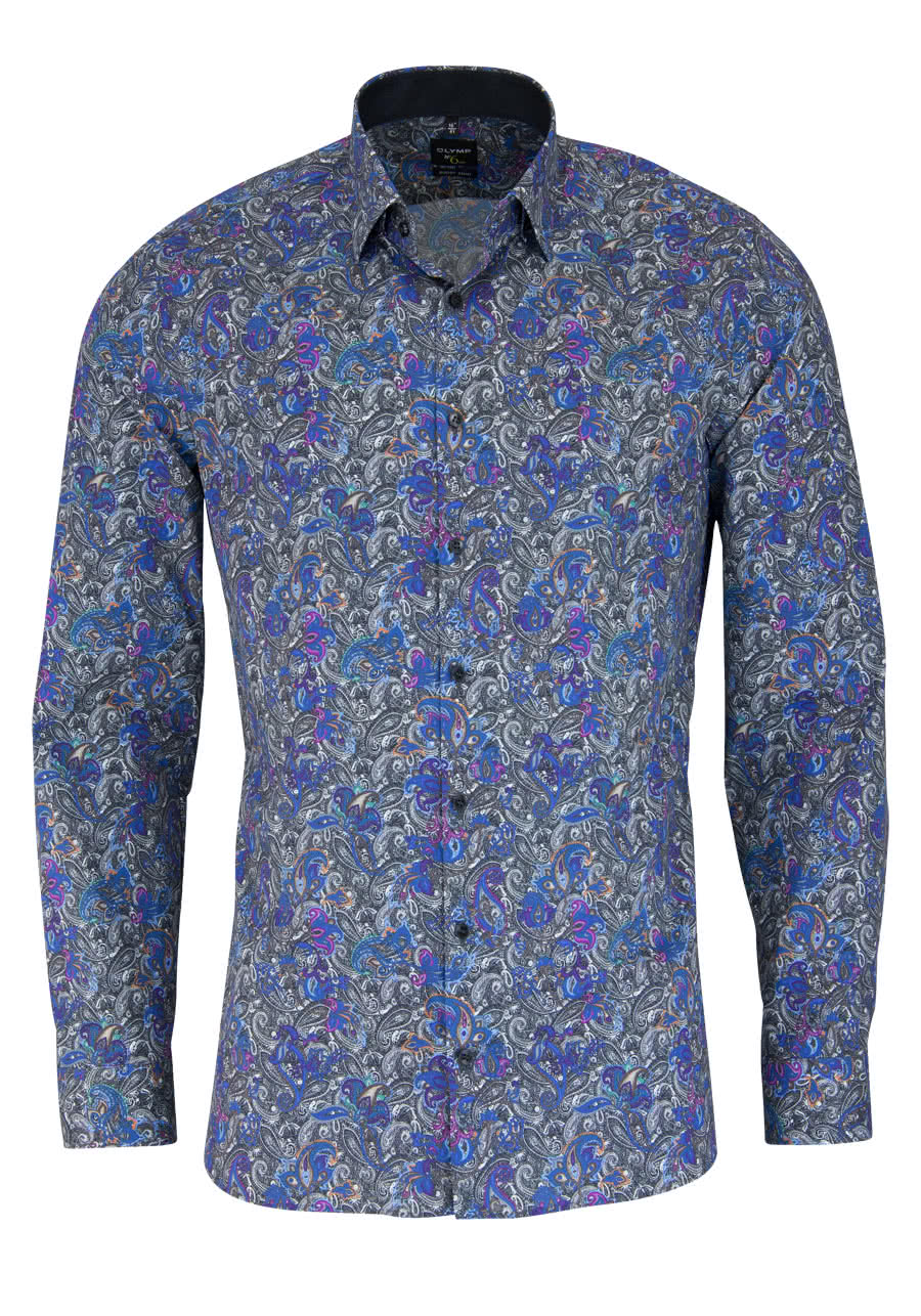 OLYMP No. Six super slim Hemd Langarm mit Besatz Muster blau