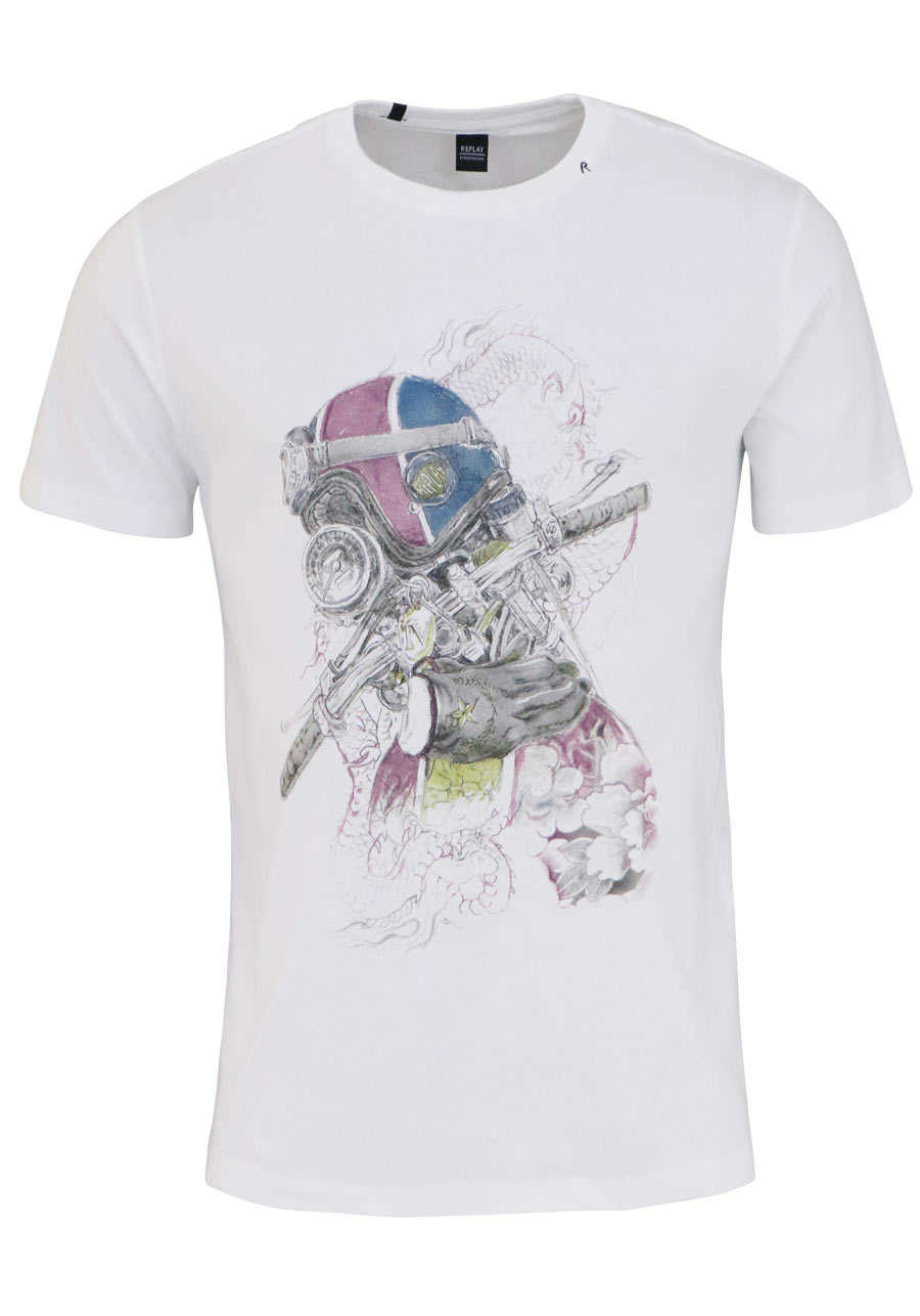 REPLAY Rundhals T-Shirt Halbarm Statement-Print weiß f96eab50db