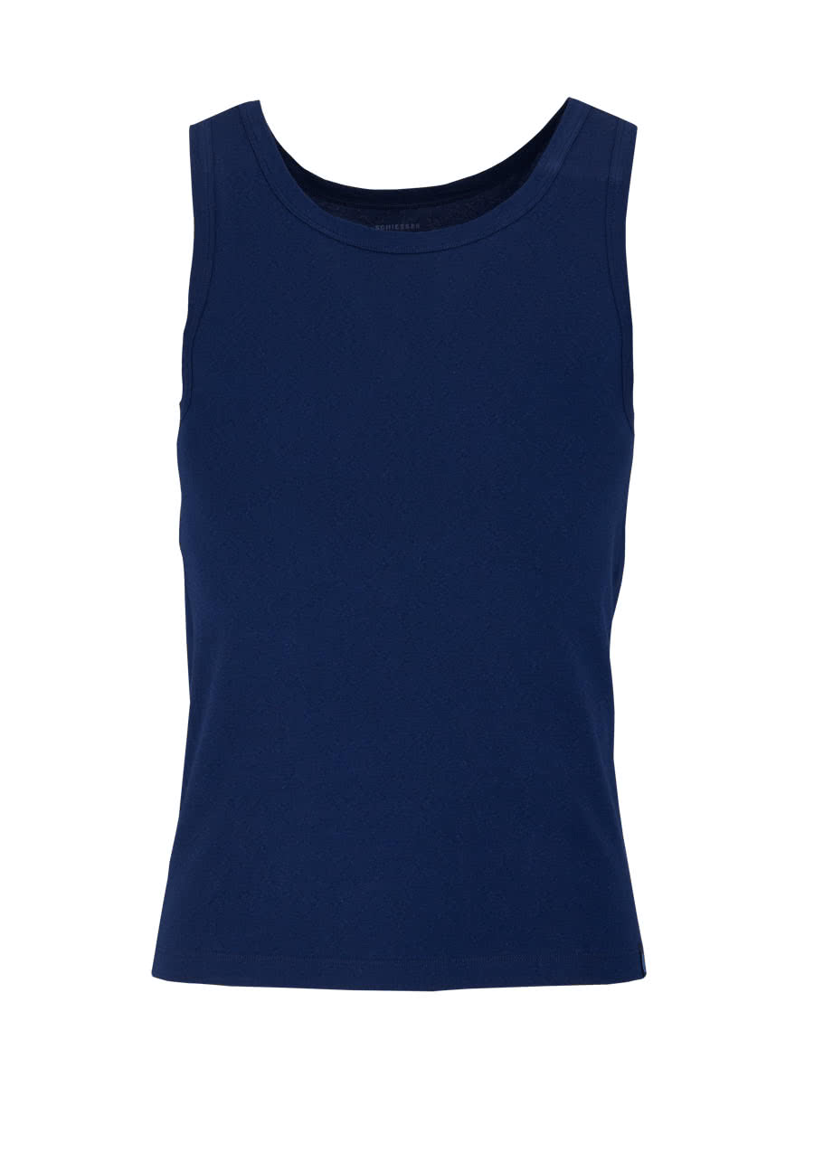 new style 2178c 208b1 SCHIESSER ärmelloses Shirt 95/5 Baumwollmischung nachtblau